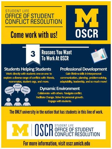 Work with OSCR. Apply on the Student Employment website.