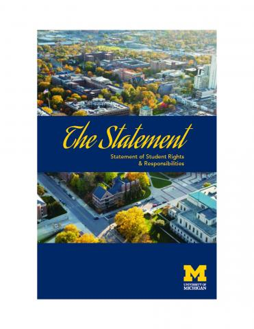 Cover of Statement that includes a cityscape of Ann Arbor and the University.